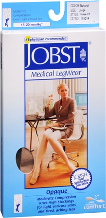 JOBST Medical LegWear Knee High 15-20 mmHg Opaque Large Silky Beige 1 Pair [035664152147]