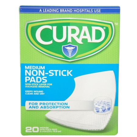 Curad Medium Non-Stick Pads 3 Inches X 4 Inches 20 Each [080196300108]