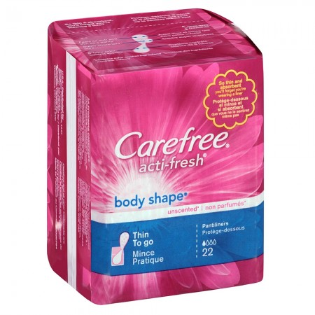 CAREFREE Acti-Fresh Body Shape Thin To Go Pantiliners, Unscented 22 ea [078300069911]