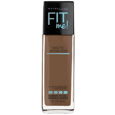 Maybelline Fit Me Matte + Poreless Liquid Foundation Makeup, Latte, 1 oz [041554538717]