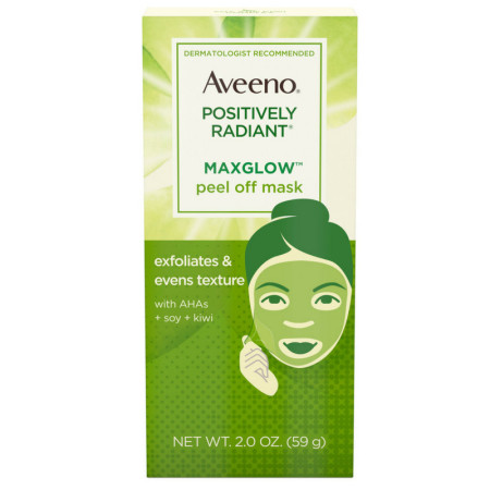 AVEENO Positively Radiant MaxGlow Peel Off Exfoliating Face Mask with Alpha Hydroxy Acids, Moisture Rich Soy & Kiwi Complex  2  oz [381371181711]