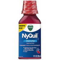 Vicks NyQuil Cold & Flu Nighttime Relief Liquid, Cherry  12 oz [323900014275]