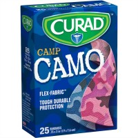 Curad Camp Camo Bandages One Size Pink 25 Each [080196305158]
