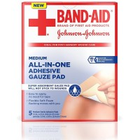 BAND-AID All-in-One Adhesive Gauze Pad, Medium 5 ea [381371166275]