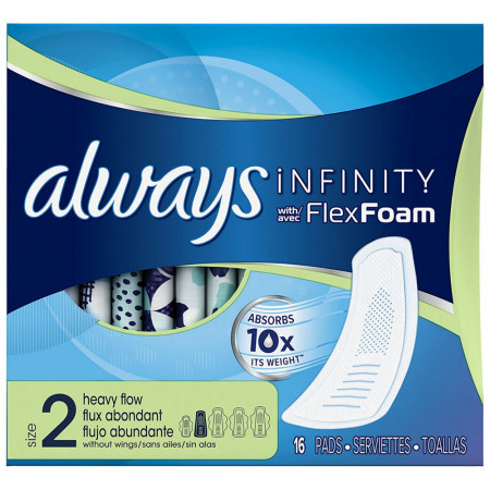 Always Infinity Pads without Wings Heavy Flow 16 ea [037000272649]