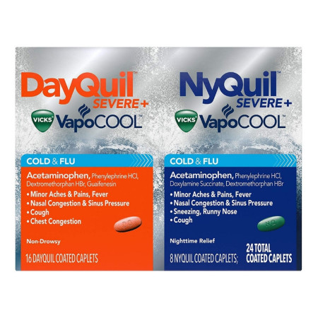 Vicks DayQuil/NyQuil Severe Cold & Flu Caplets, 24 ea [323900038486]