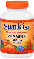 Sunkist Vitamin C 500 mg Tablets Chewable Mixed Fruit 90 Tablets [625273095289]
