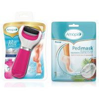 Amope  Pedi Perfect Electronic Foot File, Extra Coarse with Amope Pedimask Foot Sock Mask,1 Pair, Coconut Oil Essence 1 ea [191567393442]
