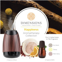 Dimensions Aromatherapy Happiness Collection Fragrance Diffuser&3 Refills for up to 4 Months of Brilliant Fragrance 1 ea [691039107756]