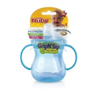 Nuby Grip N' Sip Two-Handle 10 oz No-Spill Cup with Soft Spout, Colors May  Vary 1 ea [048526096442]