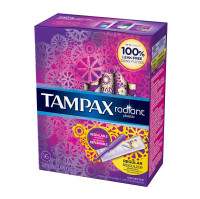 Tampax Radiant Plastic Unscented Tampons, Regular Absorbency, 16 ea [073010015333]