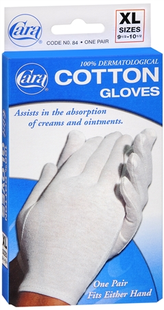 Cara 100% Dermatological Cotton Gloves X-Large 1 Pair [038056000842]