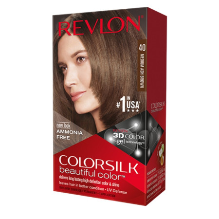 Revlon ColorSilk Hair Color, 40 Medium Ash Brown 1 ea [309978695400]