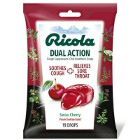 Ricola Dual Action Cough Suppressant Drops, Cherry 19 ea [036602301559]