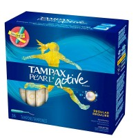 Tampax Pearl Active Plastic, Regular Absorbency, Unscented Tampons 36 ea [073010710573]