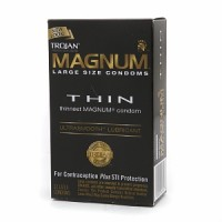 TROJAN MAGNUM Thin Lubricated Premium Latex Condoms Large Size 12 Each [022600646143]