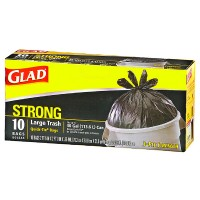 Glad Quick Tie Strong Large Trash Bags, 30 Gallon, Black 10 ea [012587000809]