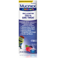 Mucinex Children's Cold, Cough and Sore Throat Liquid Medicine, Mixed Berry, 4 oz [363824278643]