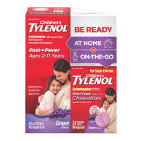 Tylenol Children's Pack, Liquid (4 fl. oz) and Chewables (24 ct), Pain + Fever Relief, Grape Flavor, 1  ea [300450296139]