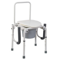 DMI Portable Toilet, Deluxe Commode Chair, Drop Arm Commode For Easy Transfers, Steel Bedside Commode, Easy No Tool Assembly, White 1 ea [041298012139]