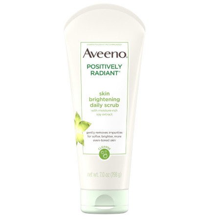 AVEENO  Positively Radiant Skin Brightening Exfoliating Daily Facial Scrub with Moisture-Rich Soy Extract, Jojoba & Castor Oils, Soap-Free 7  oz [381371181919]