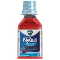 Vicks Nyquil Cold & Flu Nighttime Relief Liquid, Alcohol Free, Berry Flavor  12 oz [323900014343]