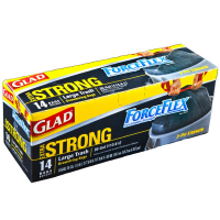 Glad Force Flex Extra Strong Large Drawstring Trash Bags, 30 Gallon, Black 14 ea [012587704196]
