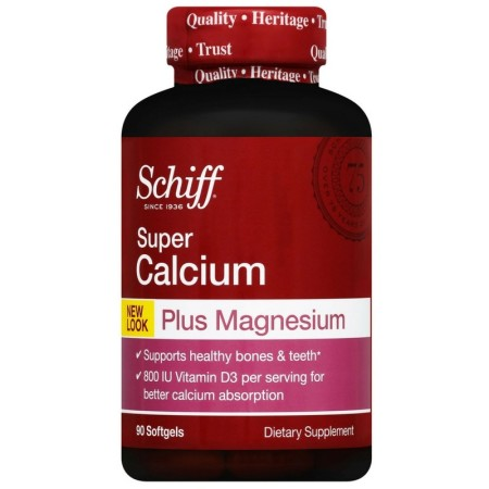 Schiff Calcium Carbonate Plus Magnesium with Vitamin D3 800 IU, Calcium Supplement, 90 ct [020525113429]