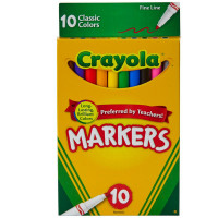 Crayola Classic Fine Line Markers, Assorted Colors 10 ea [071662077266]