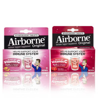 Airborne Immune Support Effervescent Tablets Pink Grapefruit 10 Ct & Very Berry 10 Ct 1 ea [191567826803]