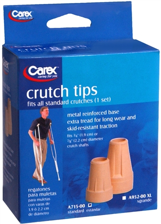 Carex Crutch Tips Standard A715-00 2 Each [023601007155]
