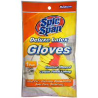 Spic And Span Deluxe Latex Gloves, Medium 1 Pair [071582005714]