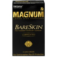 TROJAN Magnum Bareskin Lubricated Large Size Condoms 10 ea [022600228875]
