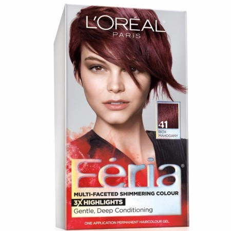 L'Oreal Feria Permanent Multi-Faceted Shimmering Colour, 41 Rich Mahogany, 1 ea [071249230381]