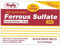 Rugby Ferrous Sulfate Extended-Release 140mg Tablets 60 ea [005363481084]