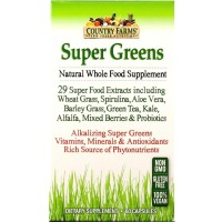 Country Farms  Super Greens Natural Whole Food Supplement Veggie Capsules 60 ea [035046090715]