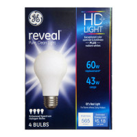 GE Reveal 43-Watt, 565-Lumen A19 Light Bulb with Medium Base 4 ea [043168677707]