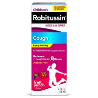 Robitussin Children's Long-Acting Cough Relief Liquid, Fruit Punch 4 oz [300318694121]