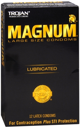 TROJAN Magnum Large Size Lubricated Premium Latex Condoms 12 Each [022600642145]