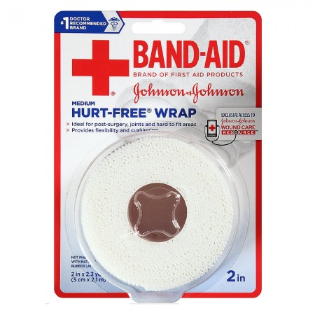 BAND-AID First Aid Hurt-Free Wrap, Medium 2 inch, 1 ea [381371161461]