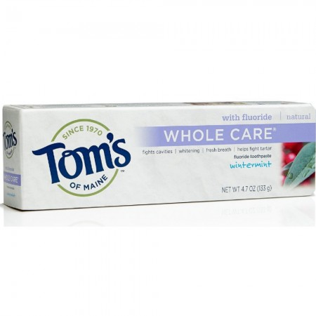 Tom's of Maine Whole Care with Fluoride Natural Toothpaste, Wintermint 4.7 oz [077326830918]