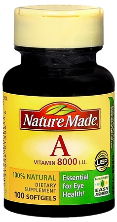 Nature Made Vitamin A 8000 I.U. Softgels 100 Soft Gels [031604013066]