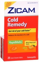 Zicam Cold Remedy RapidMelts with Vitamin C Citrus 25 Each [732216300246]