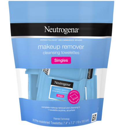 Neutrogena Makeup Remover Cleansing Towelette Singles, Daily Face Wipes to Remove Dirt, Oil, Makeup & Waterproof Mascara, Individually Wrapped 20 ea [070501111253]