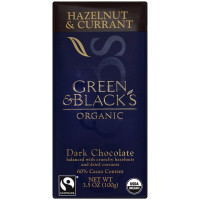 Green & Black's Organic Hazelnut & Currant Dark chocolate, 3.5 oz bars, 10 ea [708656100043]