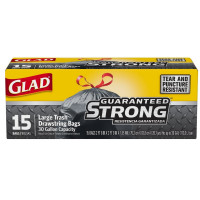 Glad Extra Strong Drawstring Large Trash Bags, 30 Gallon, Black 15 ea [012587700228]