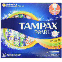 Tampax Pearl Plastic Tampons, Triple pack, Regular/super Plus Absorbency, Unscented, 34 ea [073010711327]