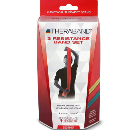 Thera-Band Latex-Free Resistance Bands 3-Pack, Beginner 1 ea [087453130744]