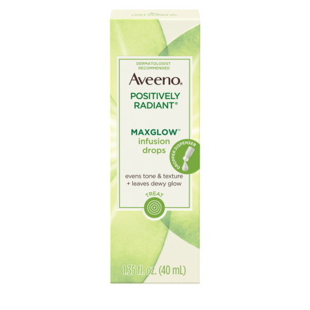 AVEENO Positively Radiant MaxGlow Infusion Drops with Moisture Rich Soy & Kiwi Complex, Moisturizing Facial Serum 1.35 oz [381371180196]