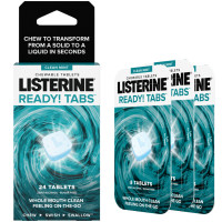 Listerine Ready! Tabs Chewable Tablets with Clean Mint Flavor, Revolutionary 4-Hour Fresh Breath Tablets, Sugar-Free & Alcohol-Free, 24 ea [312547386678]